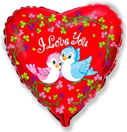 Сердце влюблённые птички