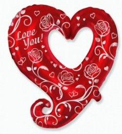 Фигурное сердце розы шар фольгированный с гелием