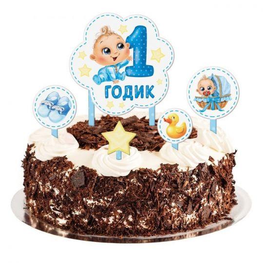 Набор топперов для торта, 1 год мальчику