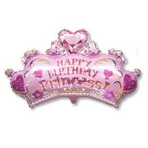 Корона принцессы с камнями-сердечками фольгированный шар с гелием