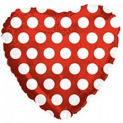 Сердце в горошек красное шар фольгированный с гелием