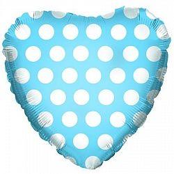 Сердце в горошек голубое шар фольгированный с гелием